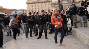 Tourists enjoying the police cordon